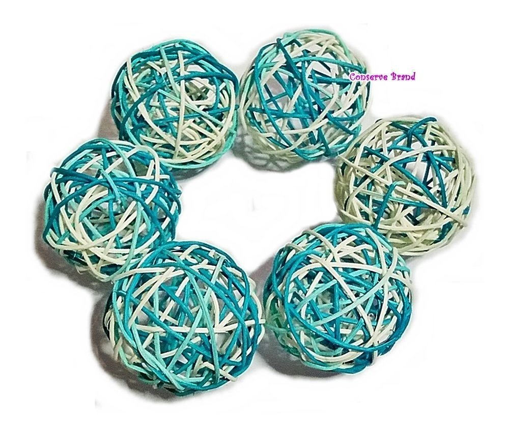 Decorative Spheres Balls Natural Medium Wicker Balls With Two Tone Color Light Blue And White For DIY Vase And Bowl Filler Ornament Thailands Gifts Perfect For Decoration And Party 3.5 inch 6 Pcs