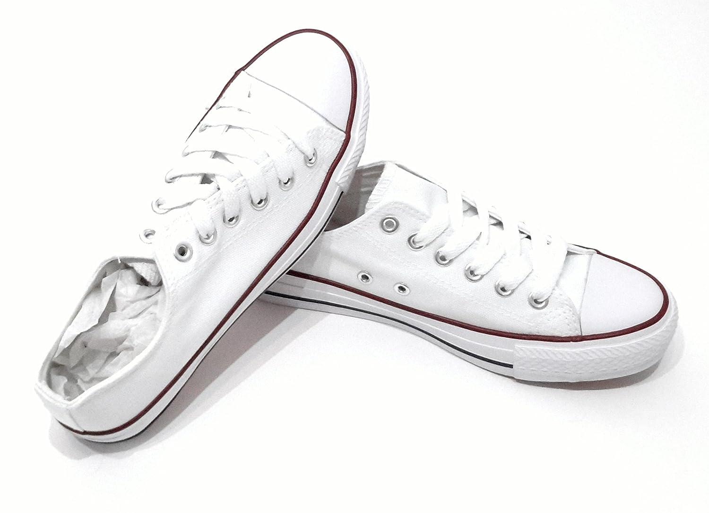 BRANDELIA Zapatillas Blancas Canvas Lona de Mujer Estilo Casual y Deportivo, Zapatos Color Blanco T.36