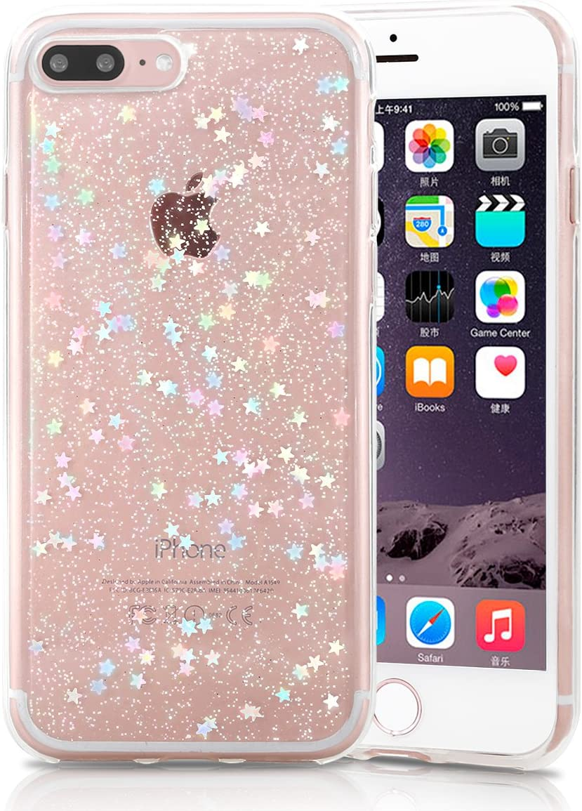 iPhone 8 Plus Case, iPhone 7 Plus Case, TILL (TM) Clear Bling Glitter Shockproof Anti-Fingerprint Sparkle Crystal Star Pattern Slim Soft TPU Phone Cover Bumper Case for iPhone 5.5 Inch [Transparent]