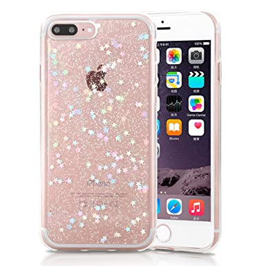 pretty nice fe4c7 137d7 XY-shell iPhone 8Plus Case, iPhone 7Plus Cases, Glitter Clear Shockproof  Bling Sparkle Crystal Star Pattern Slim Soft TPU Cover Bumper Case for  iPhone ...