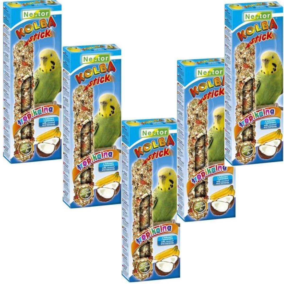 NESTOR pájaro Forro Periquito Con Plátano + coco 5x 2unidades paquetes akku-knabber Sticks