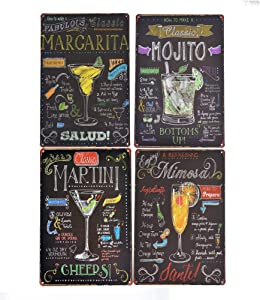 UOOPAI Classic Cocktail Metal Sign Poster Retro Sign Wall Decor Whisky Wine Plate Kitchen Pub Bar Home Antique Plaque (4pcs)