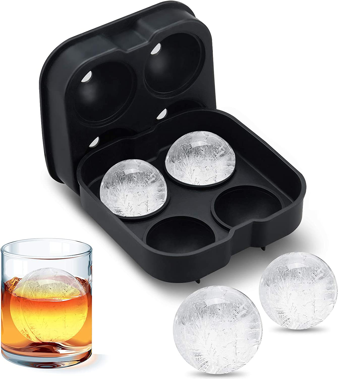 Ice Ball Maker Mold - Flexible Silicone Ice Tray - Novelty Food-Grade Ice Cube Trays – Sphere Ice Cube Mold for Whiskey with 4 X 4.5cm Ball Capacity