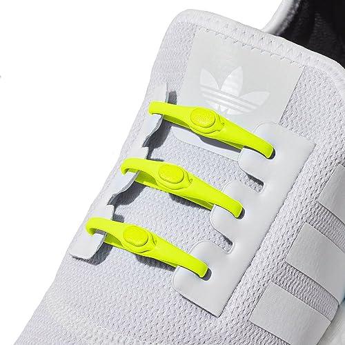 Hickies Cordones Elásticos No-Tie 2.0 Performance - Negro y Amarillo (14 Unidades, Funciona con todas las zapatillas)
