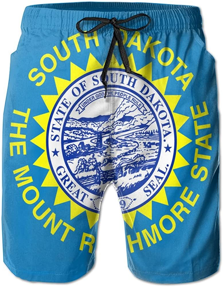 North Dakota Flag Mens Quick Dry Swim Trunks Beach Shorts