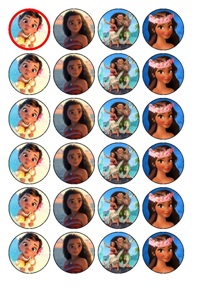 24 x Moana Cupcake Cake Toppers coyote