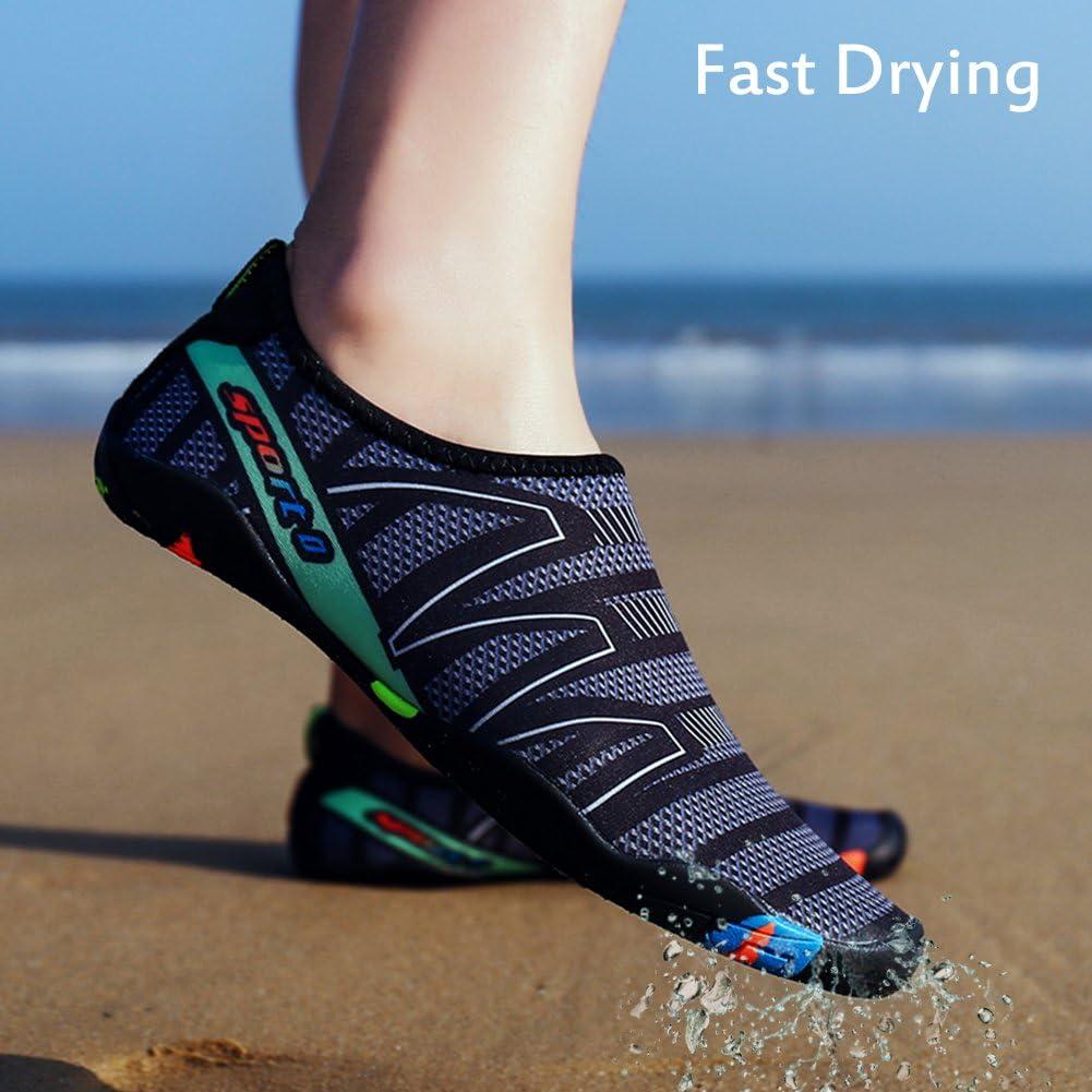 Qimaoo Barfussschuhe Herren Badeschuhe Damen Wasserschuhe Schwimmschuhe Strandschuhe Schnell Trocknend Schuhe Breathable rutschfest Aquaschuhe Surfschuhe