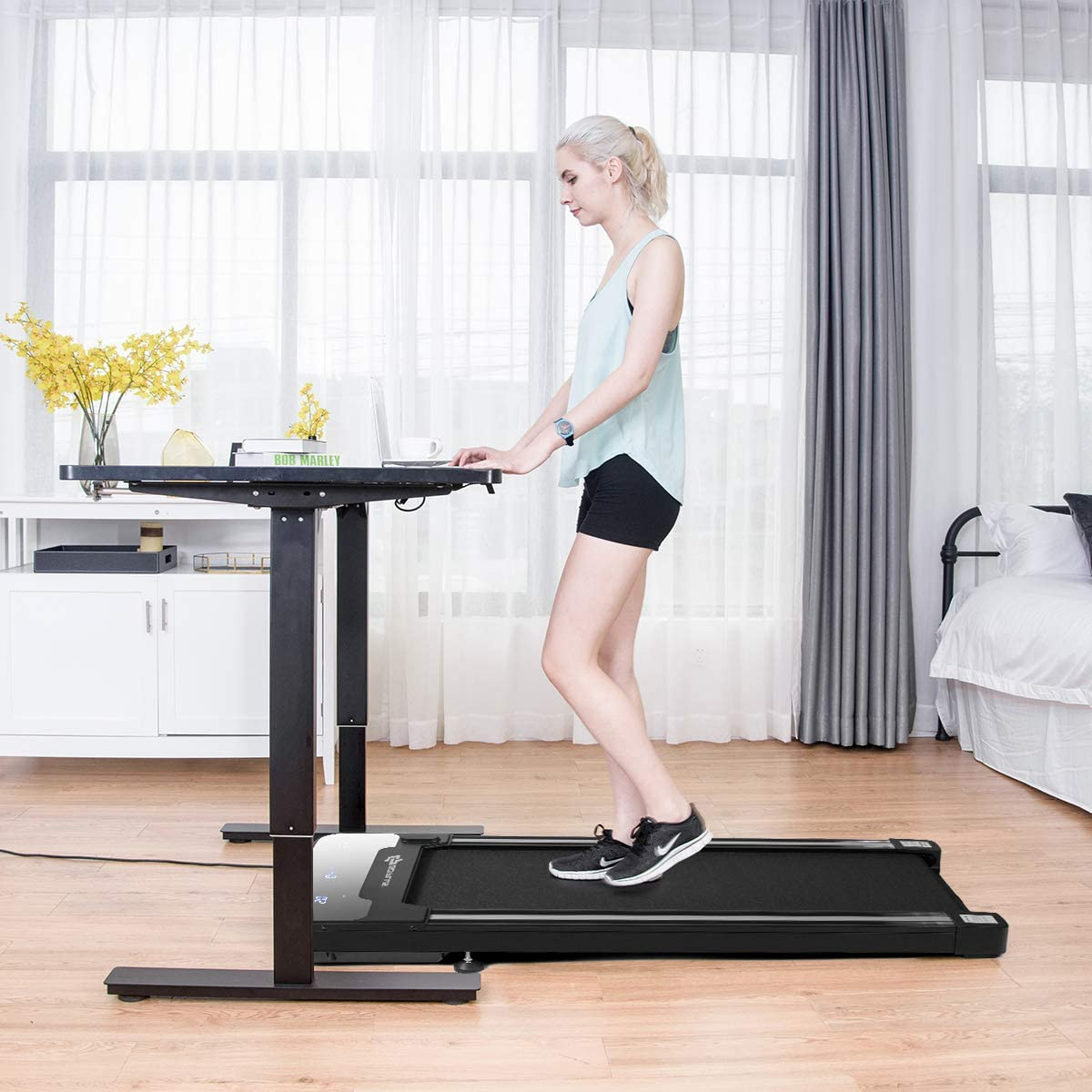 Goplus Under Desk Electric Treadmill, with Touchable LED Display Wireless Remote Control, Built-in 3 Workout Modes 12 Programs, Walking Jogging Machine for Home Office