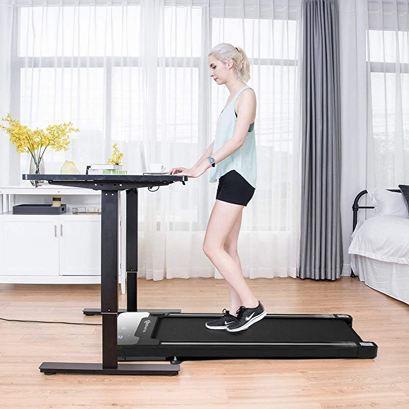 Goplus Under Desk Electric Treadmill, with Touchable LED Display and Wireless Remote Control, Built-in 3 Workout Modes and 12 Programs, Walking Jogging...