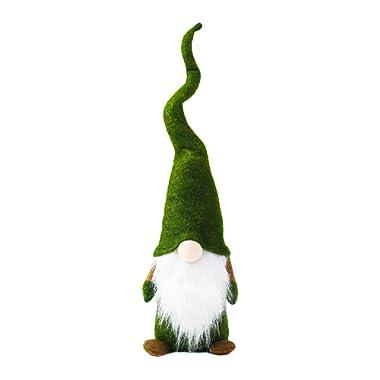 ITOMTE Handmade Swedish Gnome, Scandinavian Tomte, Plush Toy Winter Table Ornament Decoration, Yule Santa Nisse, Nordic Elf Figurine Valentine's Gnome Gifts - 16 Inches, Green