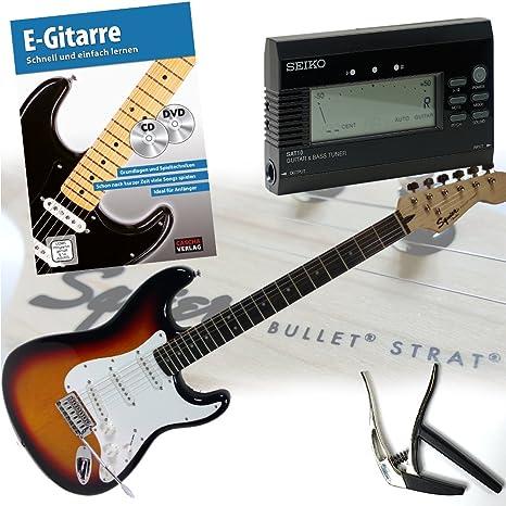 Fender Squier Bullet Strat guitarra eléctrica con libro + CD y DVD, Trigger Cejilla y