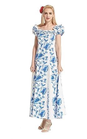 fc8f8cb0eef5 Made in Hawaii Women's Hawaiian Luau Dress Traditional Mermaid Muumuu  Fluffy Sleeves in White with Line