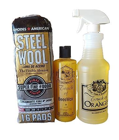 Orange Wood Cleaner 32 Oz U0026 Wood Preserver 16 Oz U0026 Steel Wool 0000 Grade,