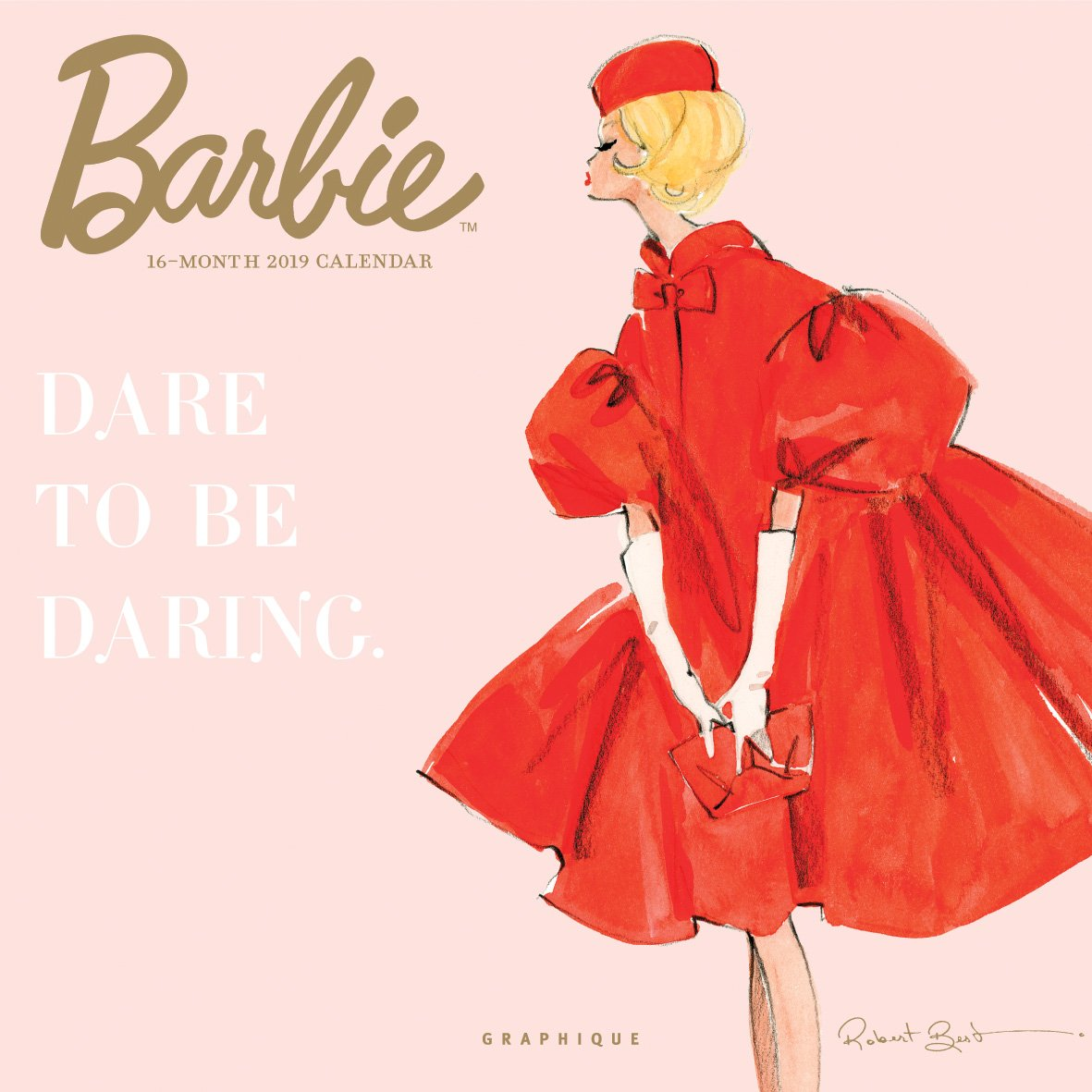 Graphique Classic Barbie Wall Calendar - 16-Month 2019 Calendar, 12''x12'' w/ 3 Languages, 4-Month Preview, Marked Holidays