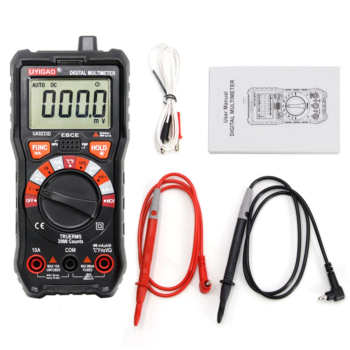 Digital Multimeter UYIGAO Auto-Ranging Digital Multimeters Electronic Measuring Instrument AC Voltage Detector Portable Amp Ohm Volt Test Meter Multi Tester Diode and Continuity Test Scanners Home Use by UYIGAO (Image #6)