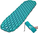 Inflatable Sleeping Mat by Hikenture - Camping Mattress and Inflatable Roll Mat- Compact and Moistureproof - for Hiking, Backpacking, Hammock,Tent (Blue and Green)