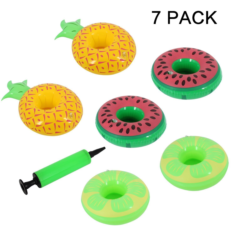 Almondcy inflable de bebida titular flotador - sandía, piña y limón con una bomba de aire para el partido de agua (7 Piezas): Amazon.es: Juguetes y juegos