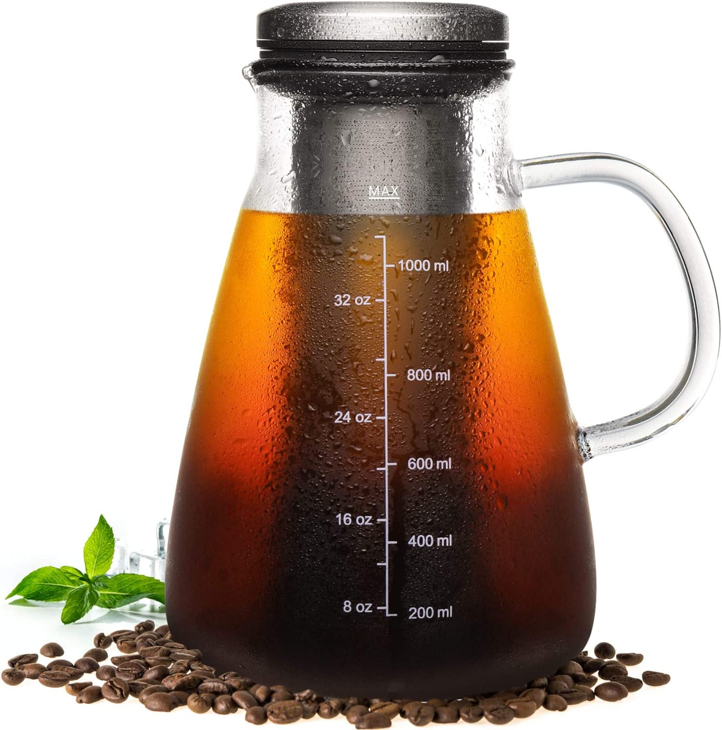 Veken Cold Brew Iced Coffee Maker Iced Tea Maker -1.0L 34oz Glass Carafe with Removable Double Mesh Stainless Steel Filter, Includes Non-Slip Silicone Base and Sponge Brush