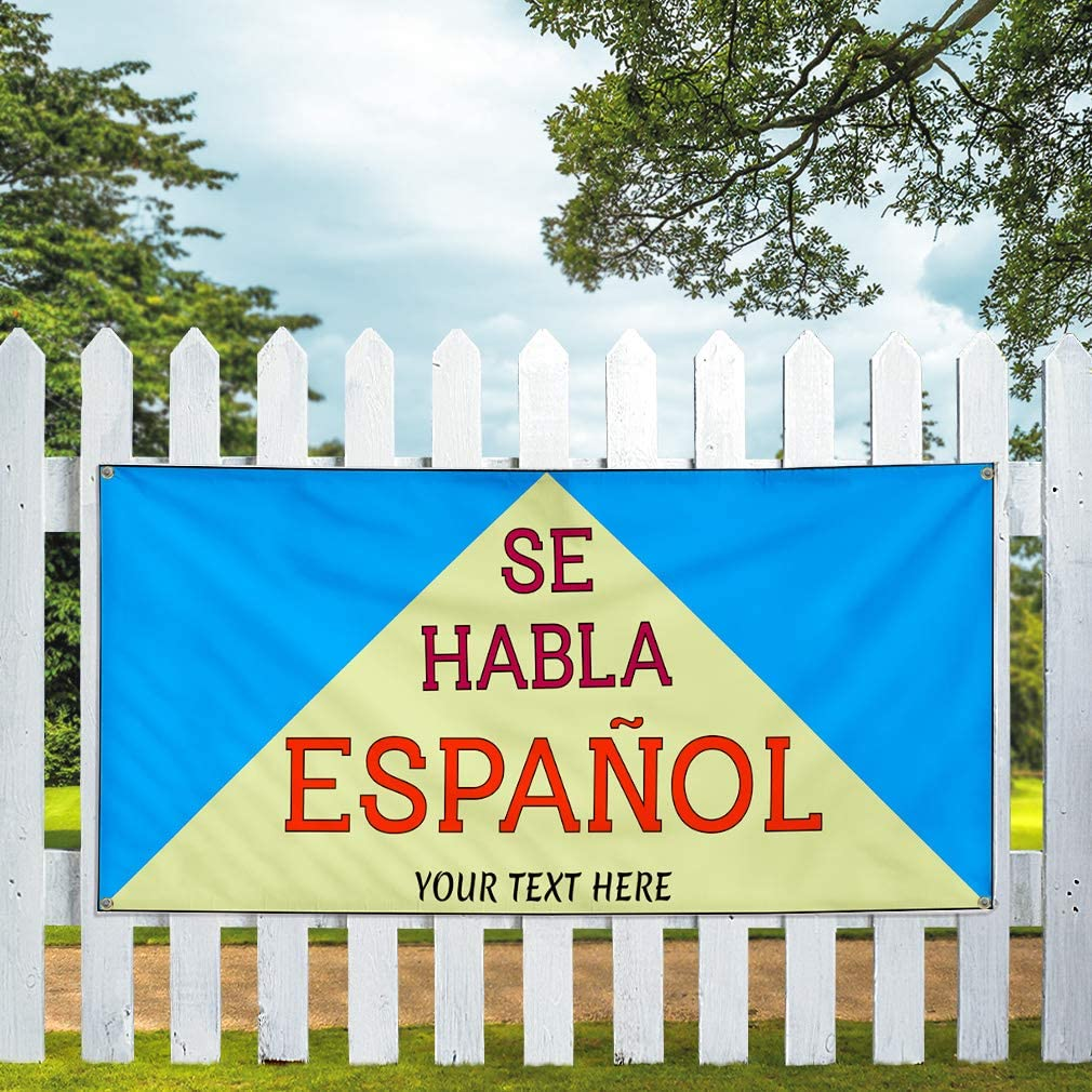 Custom Industrial Vinyl Banner Multiple Sizes Se Habla Espanol Celebration B Personalized Text Here Funny and Novelty Outdoor Weatherproof Yard Signs Red 6 Grommets 36x72Inches