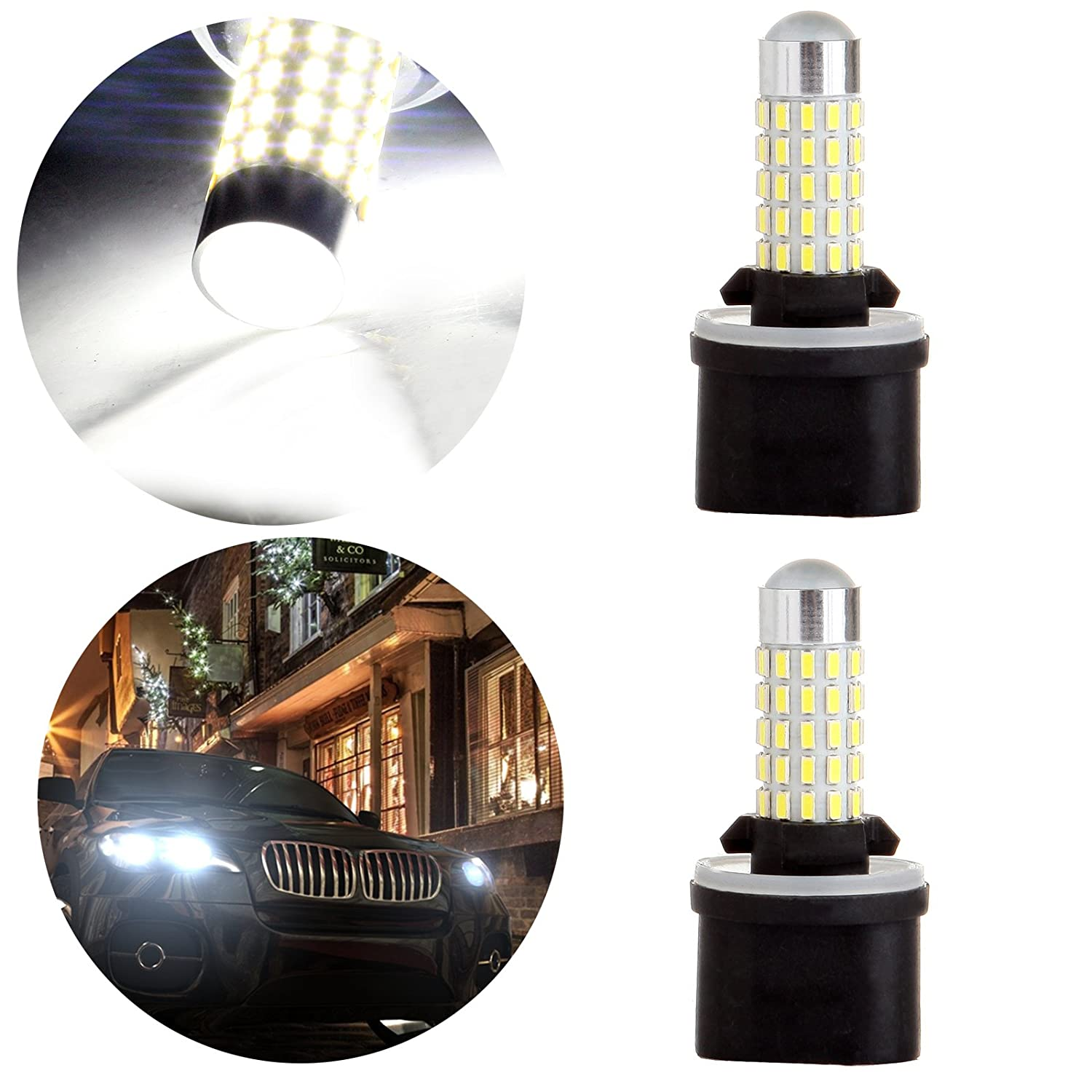 OCPTY 880 40W 66SMD HID White LED Light Bulb with Projector Replacement fit for Fog Light, 2Pack 800345-5209-1931562621