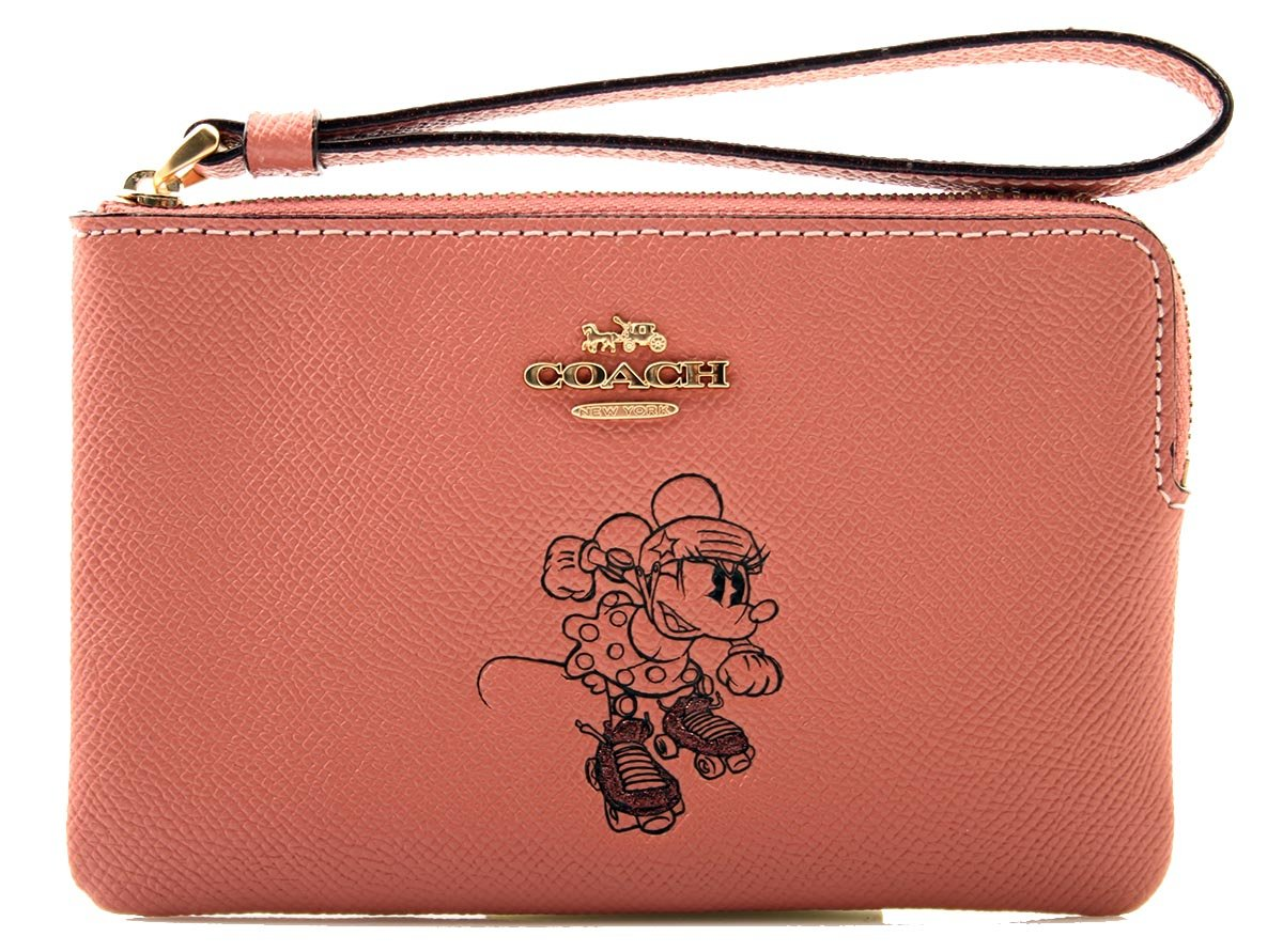 Coach x Disney Minnie Mouse Corner Zip Wristlet with Minnie Mouse in Vintage Pink