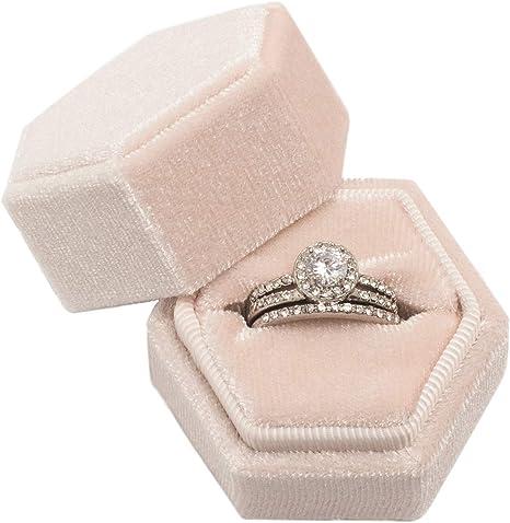 Velvet Ring Box Double Ring Slot Square Velvet Ring Box in Grey Beige Engagement Ring Box Proposal Ring Box Wedding Ring Box