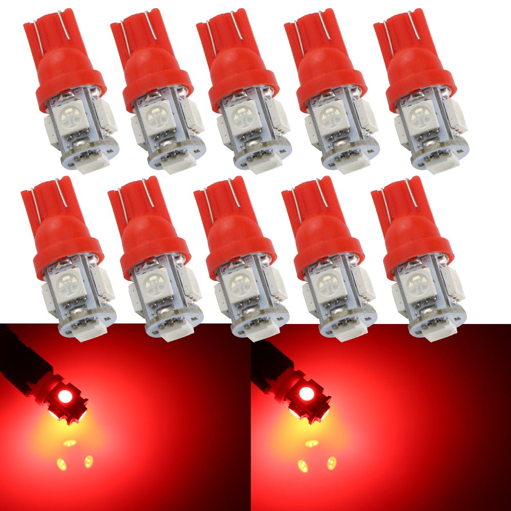Grandview 10-Pack T10 501 LED Bulbs W5W 194 168 Red 5-SMD 5050 LED Car Interior, Dashboard, Number Plate, Sidelights Boot Light Bulbs (12 V) 4333232447