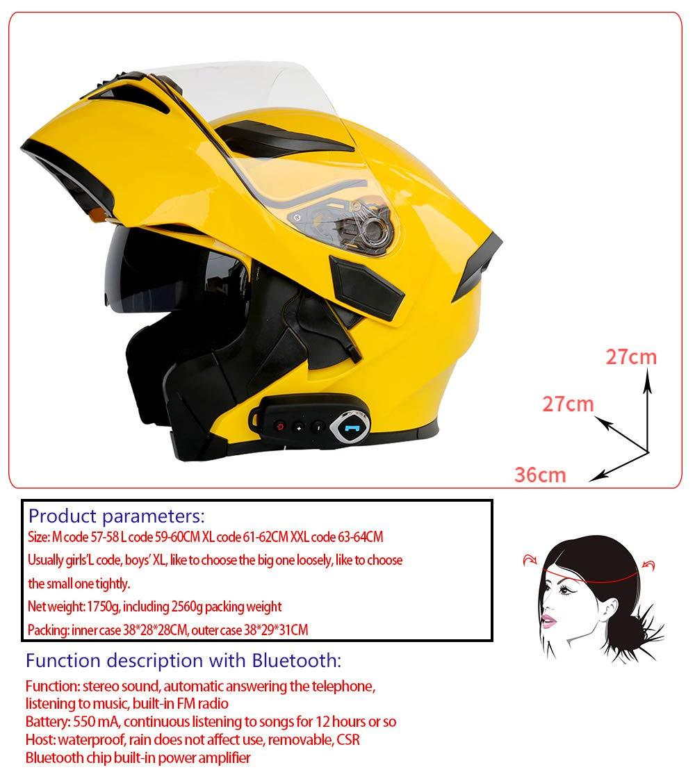 Certificazione DOT,L59cm~60cm Dual Lens Multi-Funzione Voice Casco Integrale Microfono Integrato per Cuffie WWtoukui Casco Bluetooth Moto Giallo