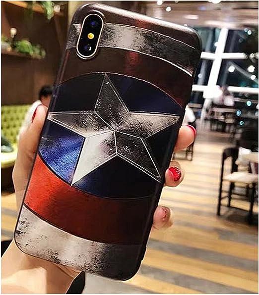 I Coque de téléphone Marvel Super Hero Superman Captain America 3d relief Coque pour iPhone 7 8 7 Plus 8 Plus X TPU souple étuis de téléphone pour ...