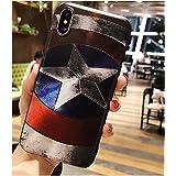 I Phone Case Marvel Super Hero Superman Captain America 3D Relief Case for iPhone 7 Plus 8 Plus Soft TPU Phone Cases for i Phone (Captain America/I Phone 7 Plus or 8 Plus)