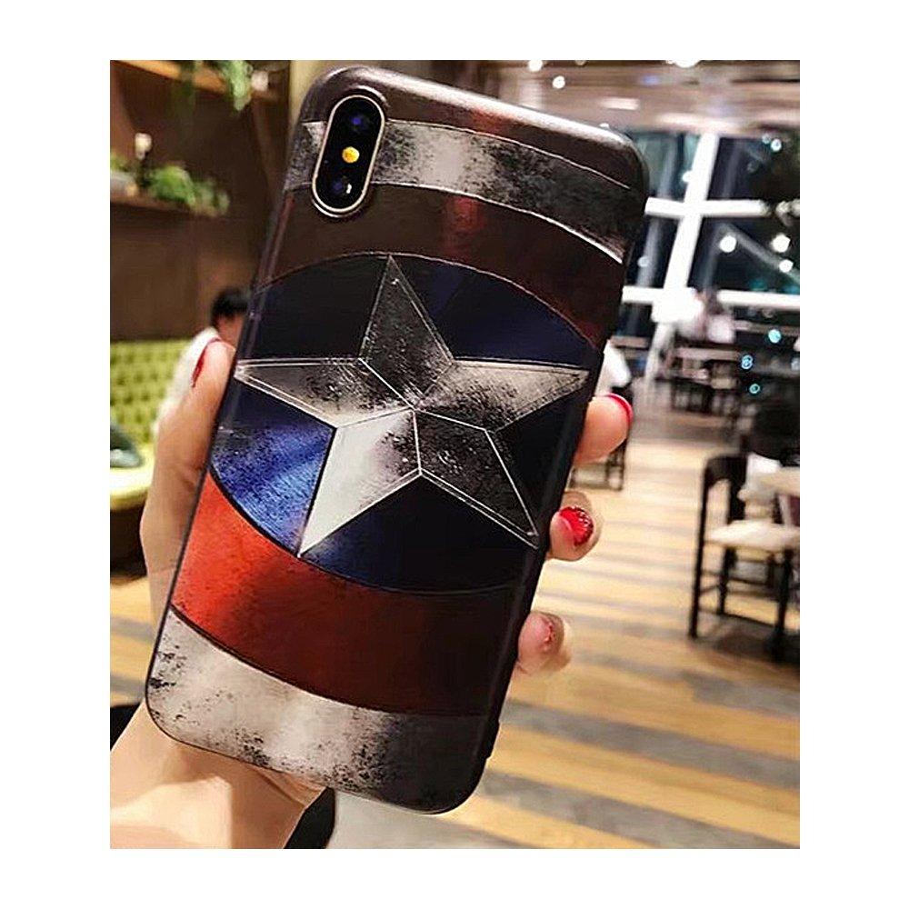 Captain America//I Phone XS I Phone Case Marvel Super Hero Superman Captain America 3D Relief Case for iPhone Xs Soft TPU Phone Cases for i Phone