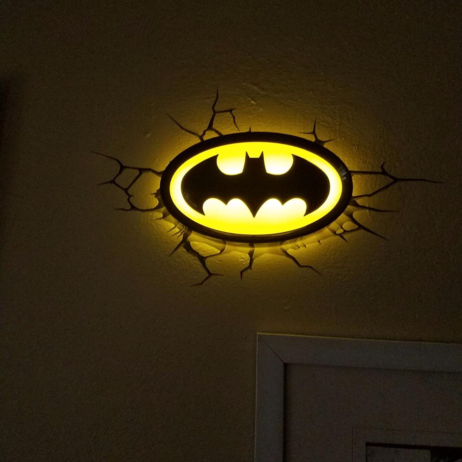 Batman logo 3d light fx batman wall decro light 816733020204 ebay light up your man cave bedroom office or bathroom with the 3d deco night light when mounted to the wall with the crack sticker the light looks like it mozeypictures Images