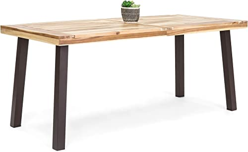 Best Choice Products 6-Person Indoor Outdoor Patio Rustic Acacia Wood Picnic Dining Table w Metal Finish Legs