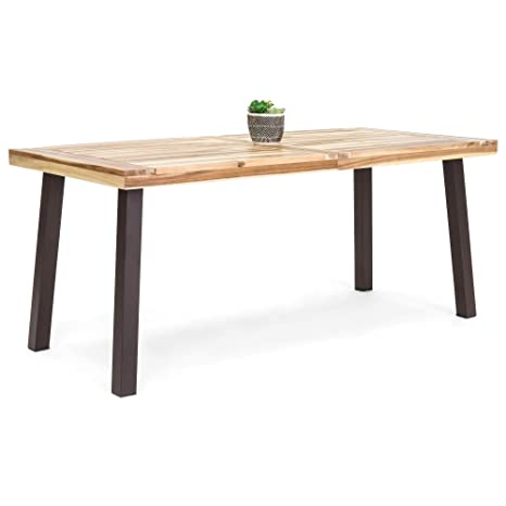 buy popular 043dc 0b4a9 Best Choice Products 6-Person Indoor Outdoor Patio Rustic Acacia Wood  Picnic Dining Table w/Metal Finish Legs