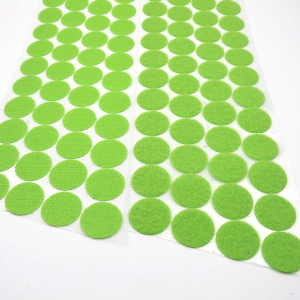 300pcs (150 Pairs) Self Adhesive Dots, Heat Resistant Sticky Back Hook Loop Coins Adhesive Tapes, 3/4'' Diameter, Waterproof Sticky Glue Fastener, Fits for School/Office/Home, Green
