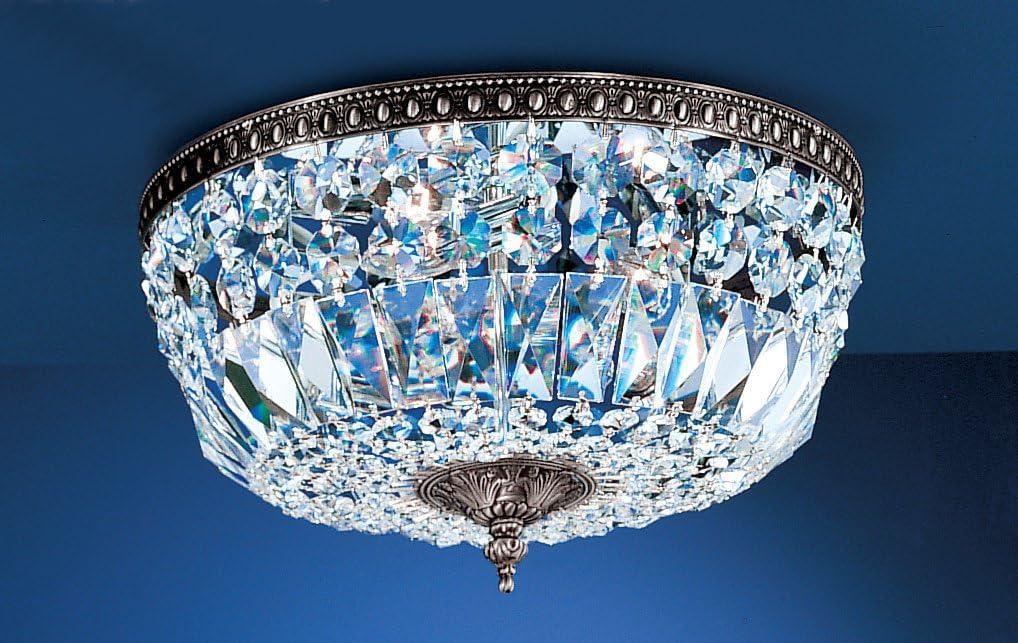"Classic Lighting 52518 MS S Crystal Baskets, Crystal, Flush/Semi-Flush, 18\"" x 18\"" x 8.5\"", Millennium Silver"