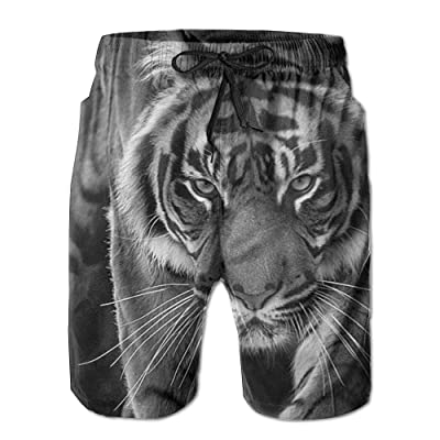 POOP LOOL Men's Tiger Beach Short Pant Swimming Pants Sandy Sport Pants with Pockets for Summer