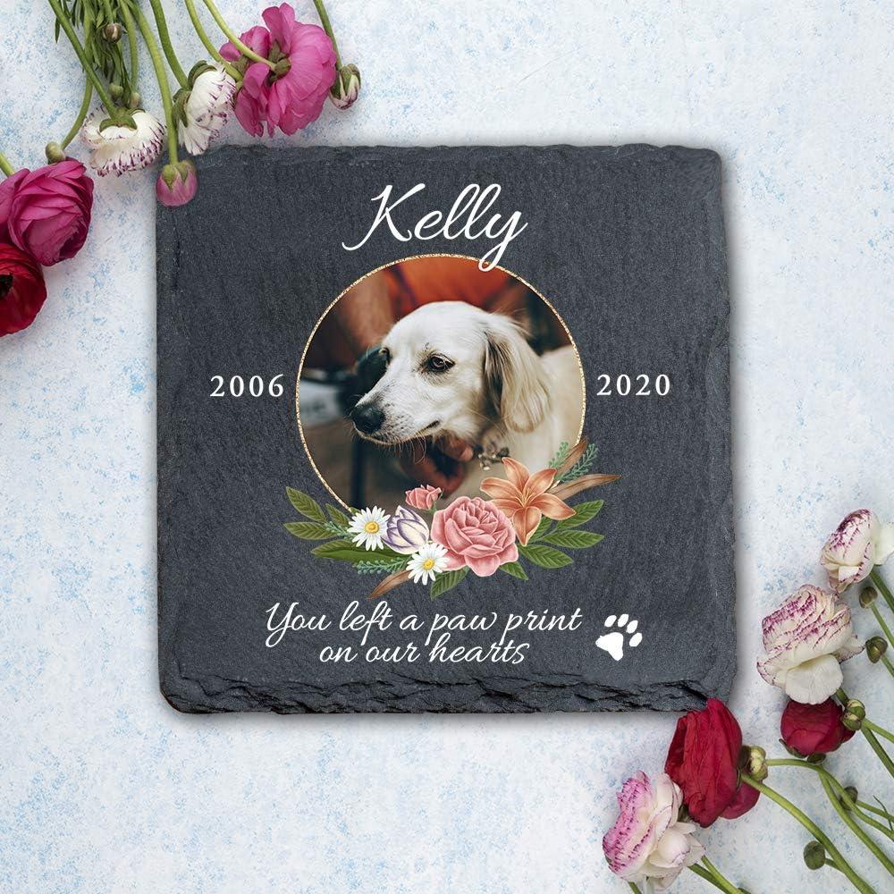gatos y perros marco de piedra de pizarra MP9 Placa conmemorativa personalizada con pata para mascotas YPH