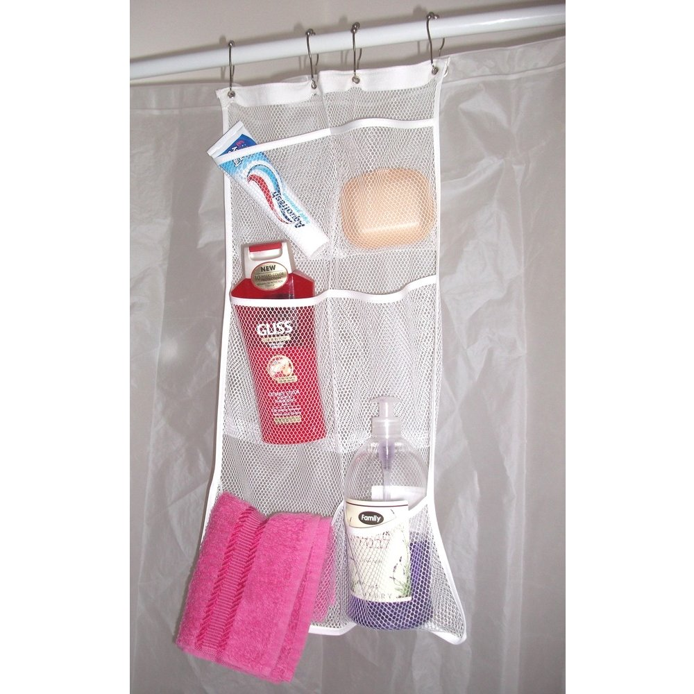 Awesome Shower Curtain Liner With Pockets Part   29: HaNB Mesh Shower  Caddy/Organizer.