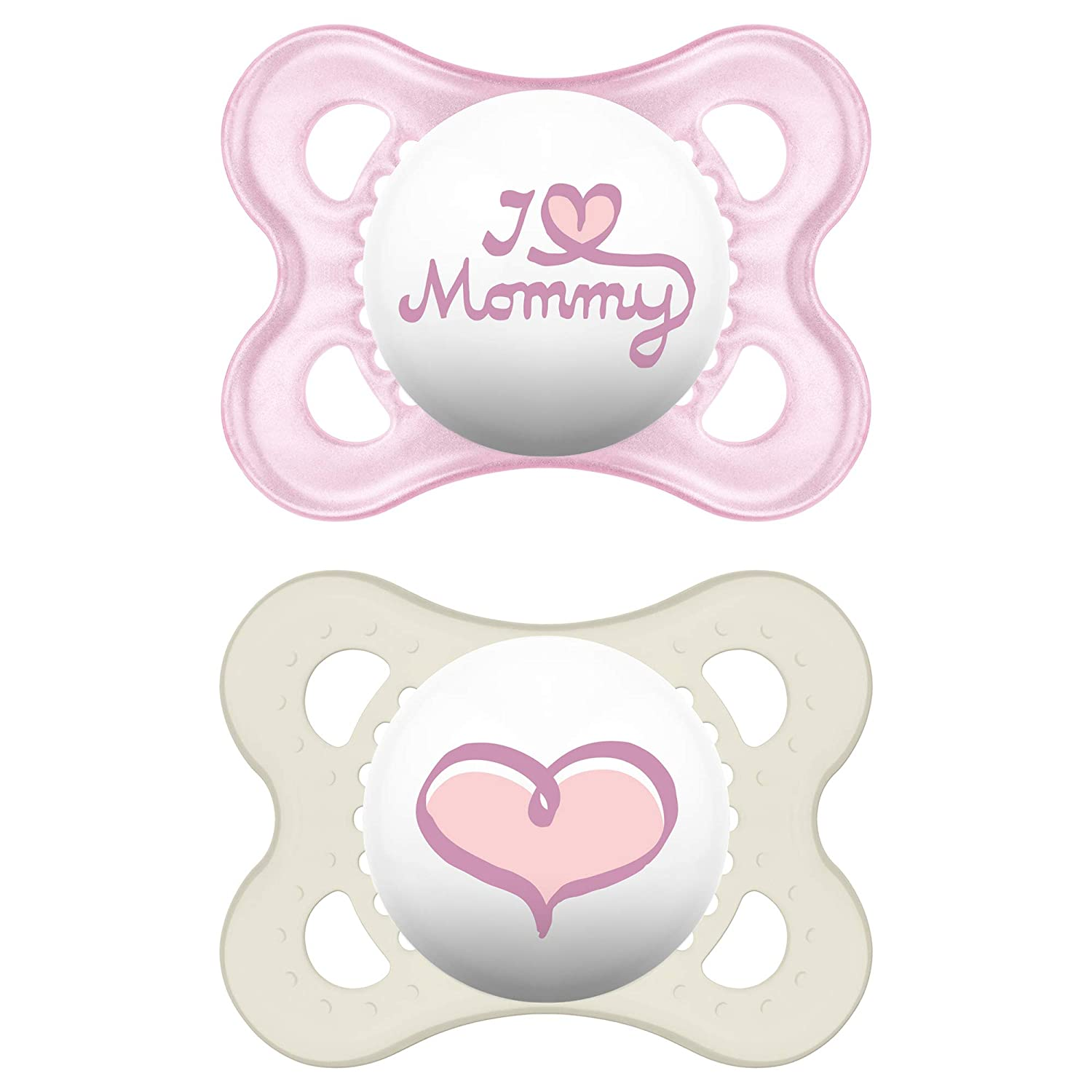 MAM I Love Mummy and Daddy Pack of 2 0-6 Months Baby Soothers with Self Travel