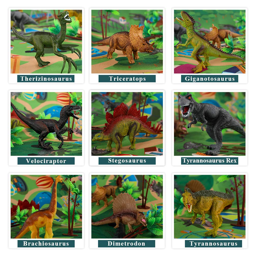 TEMI Dinosaur Toy Figure w/ Activity Play Mat & Trees, Educational Realistic Dinosaur Playset to Create a Dino World Including T-Rex, Triceratops, Velociraptor, Perfect Gifts for Kids, Boys & Girls by TEMI (Image #2)