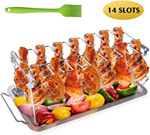 AISHN Chicken Leg Wing Grill Rack, BBQ Chicken Drumsticks Rack Stainless Steel Roaster Stand with Drip Pan, Hang Up to 14 Chicken Legs or Wings, Great Easy to Grill Smoke Wings in Grill or Smoker