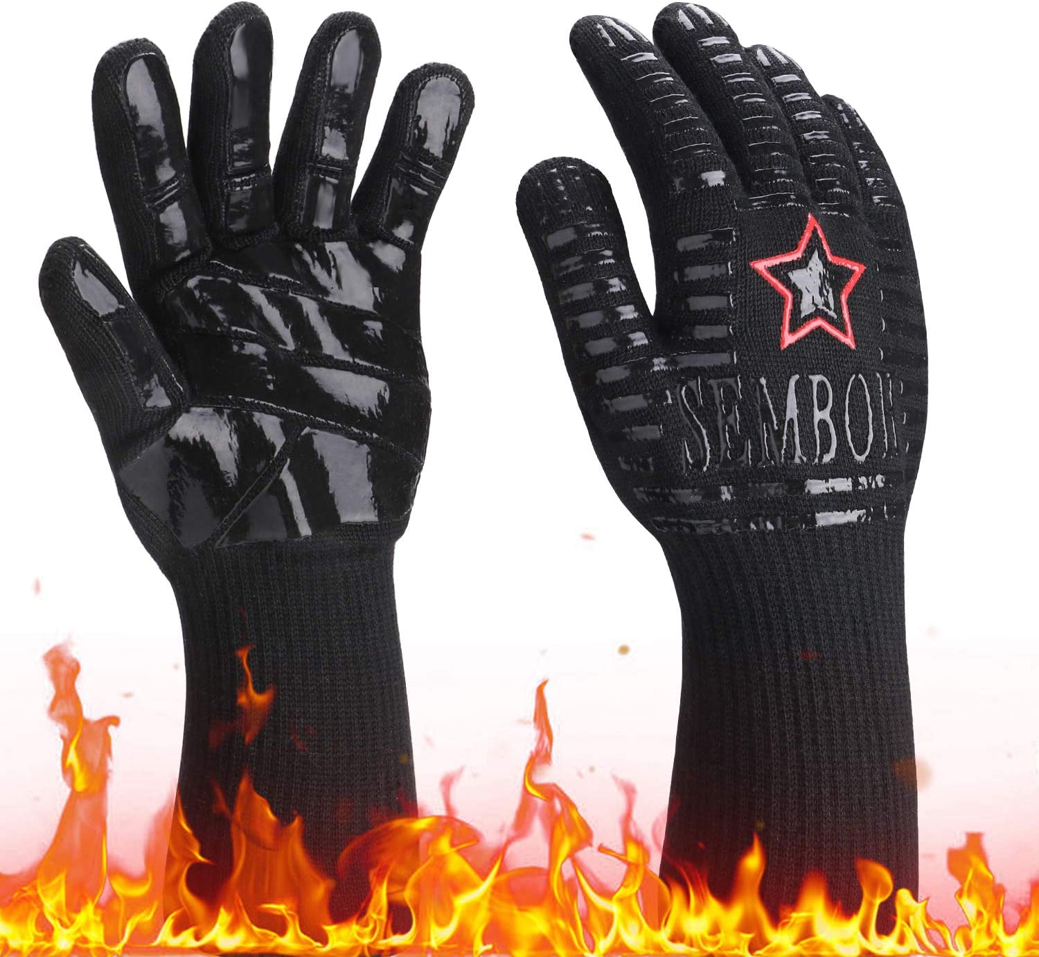 932℉ Extreme Heat Resistant Gloves, Silicone Oven Mitts for Kitchen - High Heat BBQ Gloves for Grilling, Large Oven Gloves for Men, Long Grill Gloves for Cooking, Black Protective Grilling Mitts