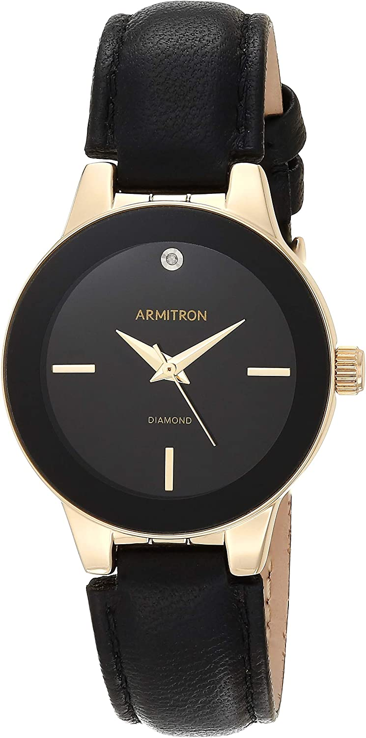 Armitron Women's 75/5410 Diamond-Accented Leather Strap Watch