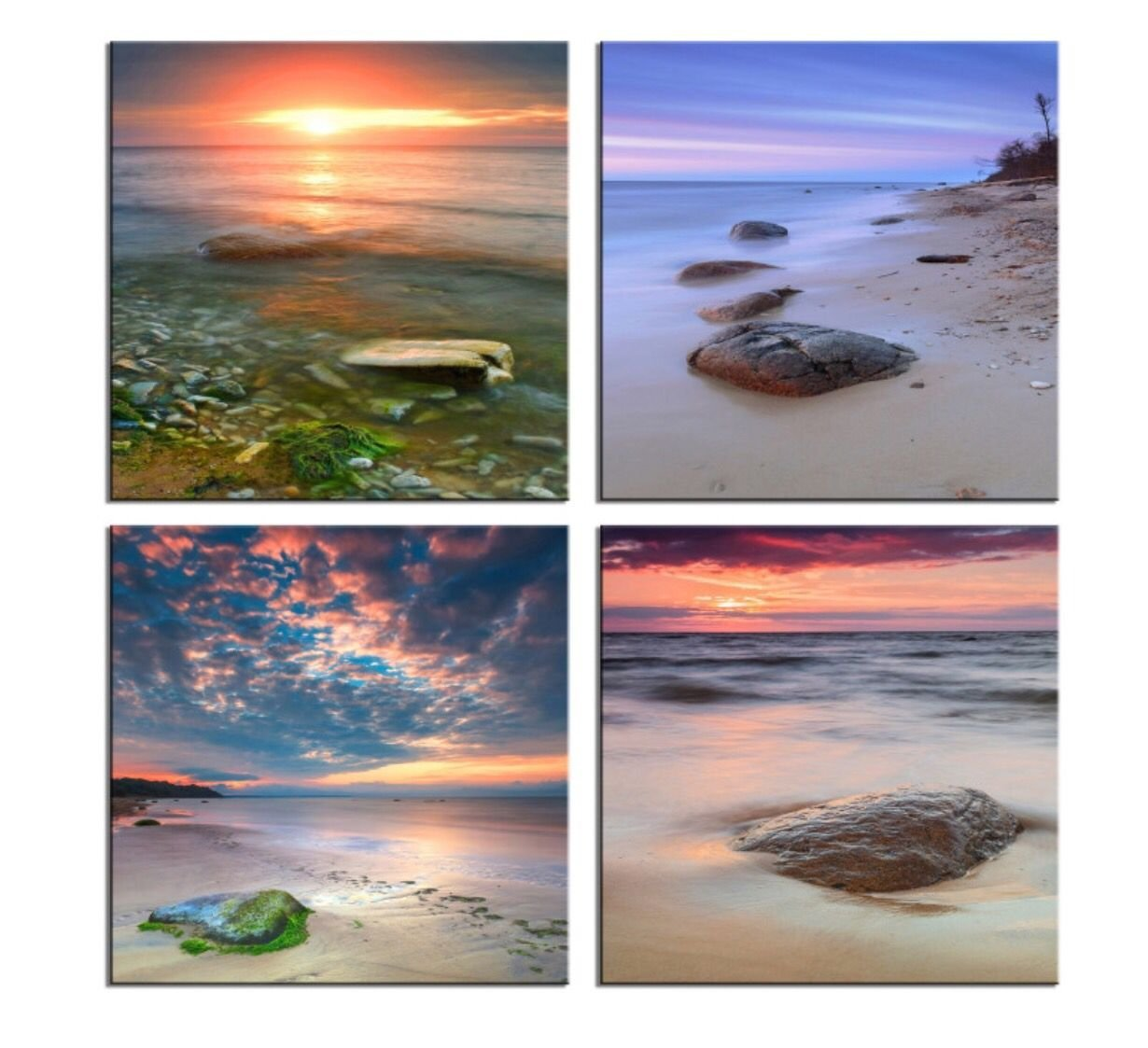HLJ Arts Giclee Zen Stone Sunset Seascape Canvas Wall Art Paintings for Home Decor Navy Blue