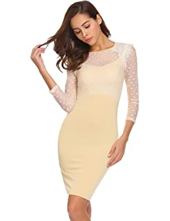 a3533aeb9911 Chigant Damen Elegantes Tüll Kleid Langarm Cocktailkleid Etuikleid Dots  Kleid Rückenausschnitt Patchwork