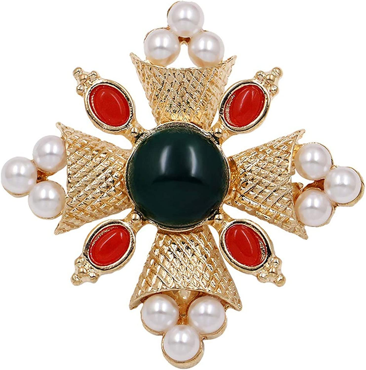 myeuphoria Brooch Pins-Vintage Style Red and Green Simulated Pearl Cross Brooches Gold Color Plated
