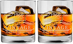 1960 60th 2-Pack Birthday Present Men Women | Birthday for Man Woman turning 60 | Funny 60 th Party Supplies Decorations Ideas | Sixty Year Old Bday Whiskey Glass | 60 Years Vintage Presents Mens