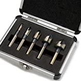 "5 Pieces Industrial Countersink Drill Bit Set Tri-Flat Shank Quick Change 1/4""-3/4"" with Aluminium Storage Case"