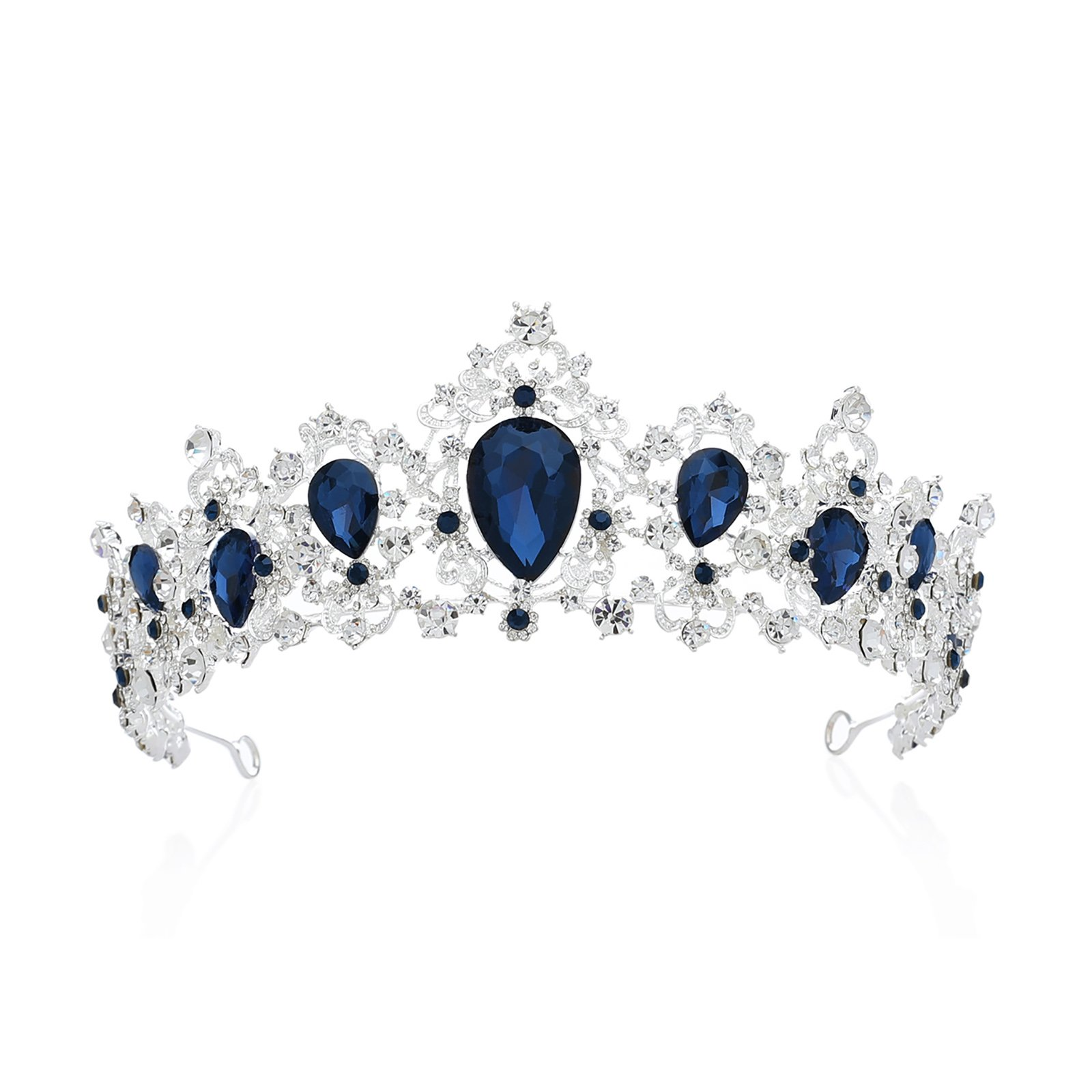 SWEETV Royal CZ Crystal Tiara Wedding Crown Princess Headpieces Bridal Hair Accessories, Sapphire+Silver by SWEETV